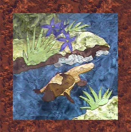 Bush Animals - B5 - Platypus at the Watering Hole - Pattern Only